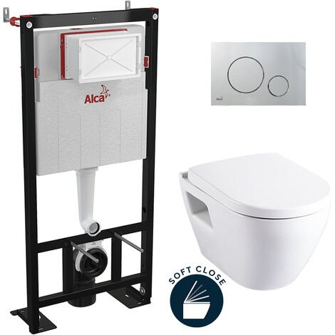Alca Pack WC Bâti autoportant + Cuvette Serel SM10 + Abattant softclose + Plaque chrome mat (AlcaSM10-5)