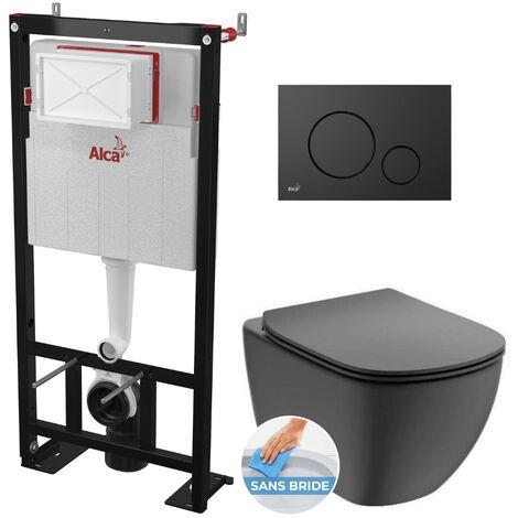Alca Pack WC Bâti autoportant + WC noir Ideal Standard Tesi Aquablade + Abattant softclose + Plaque noire mat (AlcaBlackTesi-2)