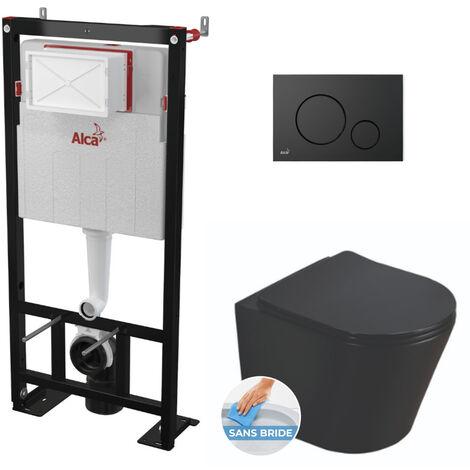Alca Pack WC Bâti autoportant + WC Swiss Aqua Technologies Infinitio noir mat sans bride + Plaque noire mat (AlcaBlackInfinitio-2)