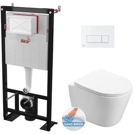 Alca Pack WC Bâti autoportant + WC Swiss Aqua Technologies Infinitio sans bride + Plaque blanche (AlcaInfinitio-4)