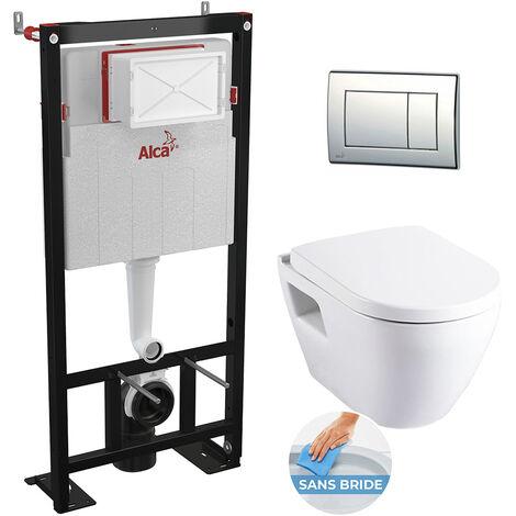 Alca Plast Set WC sans bride tout en un avec bâti support autoportant (Alcastarset-sm26)
