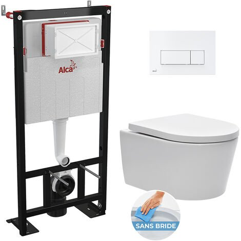 Alca Set bati support autoportant + WC suspendu sans bride, fixations invisibles + plaque double touche blanche (AlcaSATrimless-4)