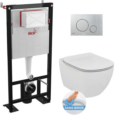Alca Set complet bati support autoportant + WC Ideal Standard Tesi Aquablade sans bride + plaque chrome mat (AlcaTesi-5)
