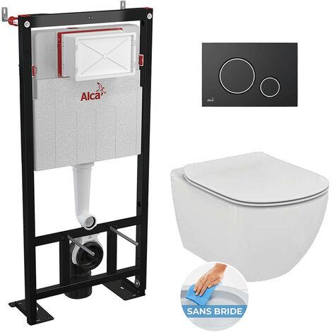 Alca Set complet bati support autoportant + WC Ideal Standard Tesi Aquablade sans bride + plaque noire mate (AlcaTesi-7)