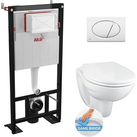 Alca Set complet bati support autoportant + WC suspendu Porcher sans bride + plaque double touche blanche (AlcaPorcherRimless-3)