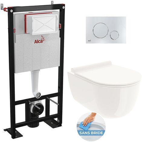Alca Set complet bati support autoportant + WC suspendu RIO sans bride + plaque chrome brillant (AlcaRioRimless-8)