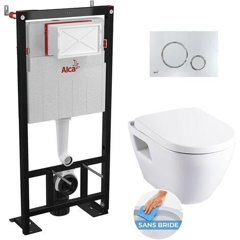 Alca Set complet bati support autoportant + WC suspendu sans bride SM26 + plaque chrome (AlcaSM26-6)