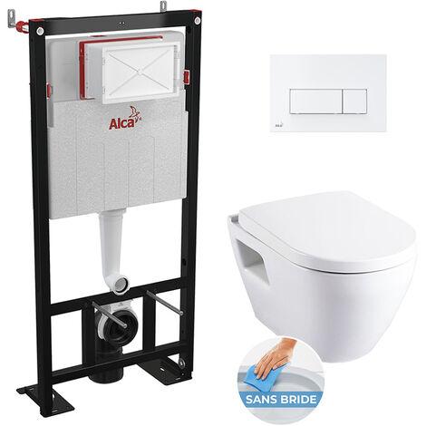 Alca Set complet bati support autoportant + WC suspendu sans bride SM26 + plaque double touche blanche (AlcaSM26-4)