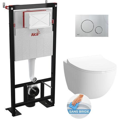 Alca Set complet bati support autoportant + WC suspendu Vitra Sento sans bride + plaque chrome mat (AlcaSento-5)