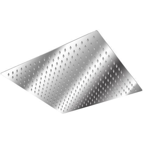 Alcachofa de ducha con efecto lluvia de acero inoxidable cuadrada - cabezal de ducha efecto espejo, rociador de ducha anticalcáreo para cuarto de baño, cabeza de ducha antical con conexión