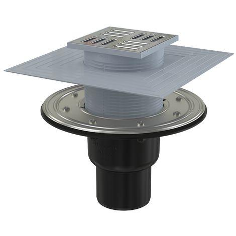 AlcaPlast APV Bodenablauf mit Edelstahlrost Siphon oder Klappe | Duschablauf Terrassenablauf: senkrecht