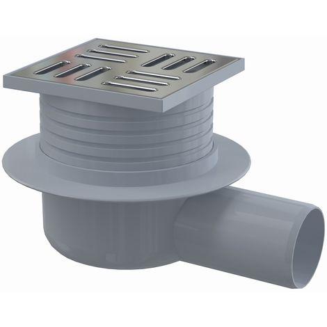 AlcaPlast APV26 Bodenablauf Duschablauf Siphon DN50 Edelstahlrost | extra flache Bauweise: waagerecht