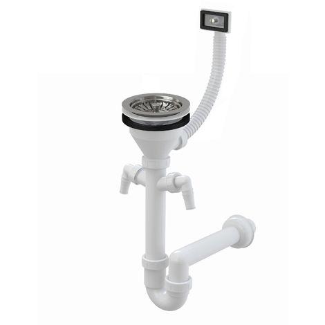 AlcaPlast Röhren Siphon | Ablaufgarnitur mit Ablaufventil 60 - 90mm | Überlauf: mit 2 Geräteanschlüssen, DN50, ø115mm mit Siebchen, ja