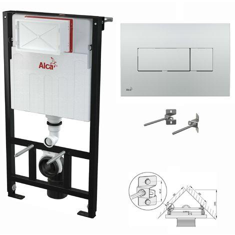 AlcaPlast WC Montageelement zur Eckmontage mit Betätigungsplatte (Serie M37): 100cm, M371 chrom glanz