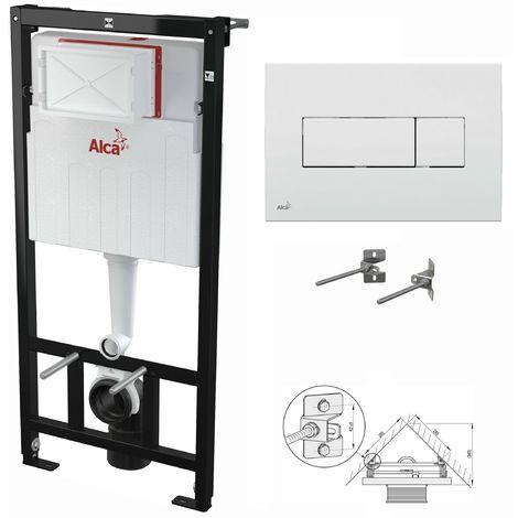 AlcaPlast WC Montageelement zur Eckmontage mit Betätigungsplatte (Serie M37): 120cm, M370 weiß