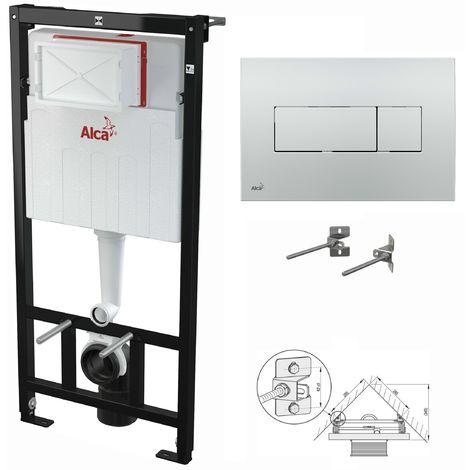 AlcaPlast WC Montageelement zur Eckmontage mit Betätigungsplatte (Serie M37): 120cm, M371 chrom glanz