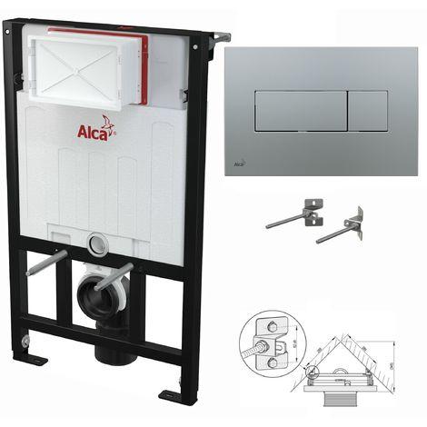 AlcaPlast WC Montageelement zur Eckmontage mit Betätigungsplatte (Serie M37): 85cm, M372 chrom matt