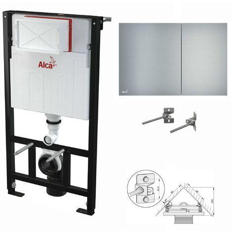 AlcaPlast WC Montageelement zur Eckmontage mit Designer-Betätigungsplatte (Serie Flat): 100cm, AIR (Aluminium)