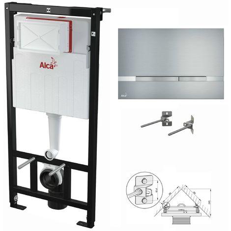 AlcaPlast WC Montageelement zur Eckmontage mit Designer-Betätigungsplatte (Serie Flat): 120cm, STRIPE (Aluminium)