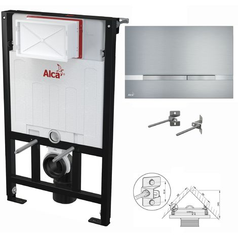 AlcaPlast WC Montageelement zur Eckmontage mit Designer-Betätigungsplatte (Serie Flat): 85cm, STRIPE (Aluminium)
