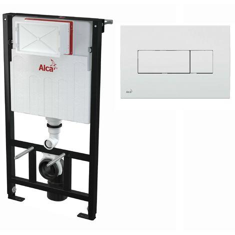 AlcaPlast WC Montageelement zur Wandmontage mit Betätigungsplatte (Serie M37): 100cm, M370 weiß