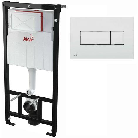 AlcaPlast WC Montageelement zur Wandmontage mit Betätigungsplatte (Serie M37): 120cm, M370 weiß