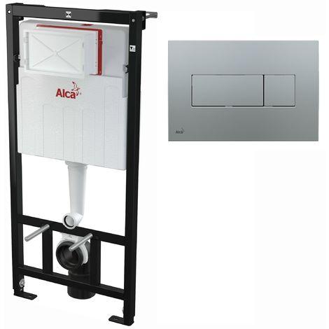 AlcaPlast WC Montageelement zur Wandmontage mit Betätigungsplatte (Serie M37): 120cm, M372 chrom matt