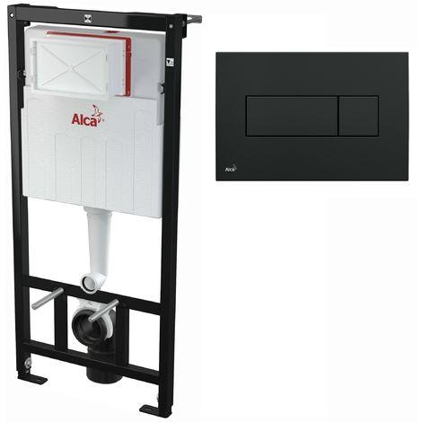 AlcaPlast WC Montageelement zur Wandmontage mit Betätigungsplatte (Serie M37): 120cm, M378 schwarz
