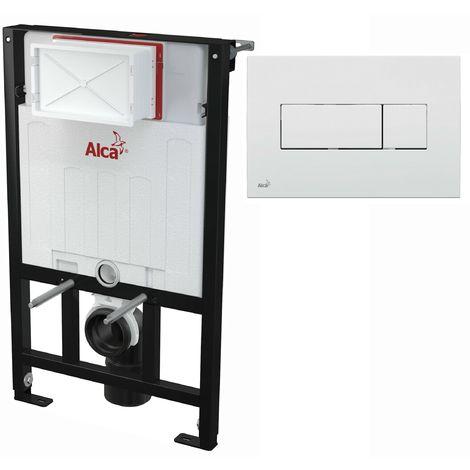 AlcaPlast WC Montageelement zur Wandmontage mit Betätigungsplatte (Serie M37): 85cm, M370 weiß