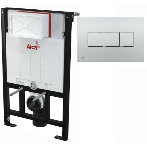 AlcaPlast WC Montageelement zur Wandmontage mit Betätigungsplatte (Serie M37): 85cm, M371 chrom glanz