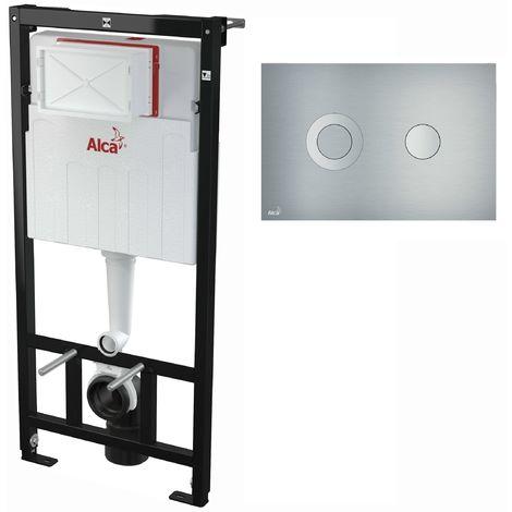 AlcaPlast WC Montageelement zur Wandmontage mit Designer Betätigungsplatte (Serie FLAT): 120cm, TURN (Aluminium)
