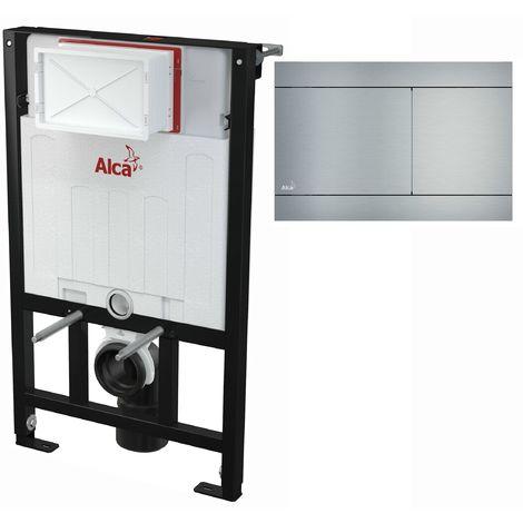 AlcaPlast WC Montageelement zur Wandmontage mit Designer Betätigungsplatte (Serie FLAT): 85cm, FUN (Aluminium)