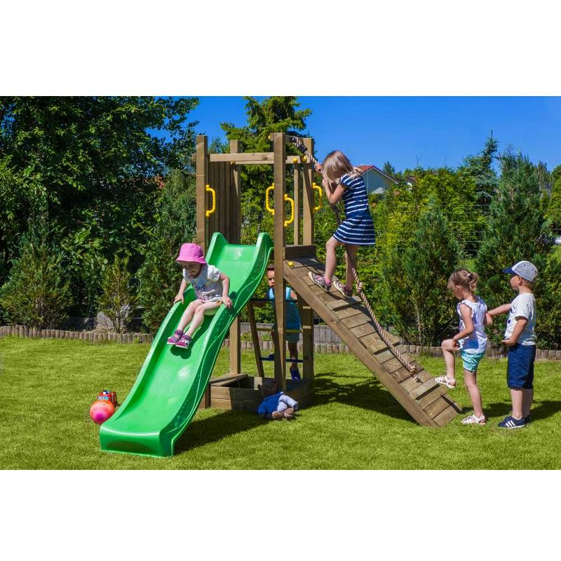 alce gioco da esterno in legno per bambini funny 3 con rampe e sabbiera