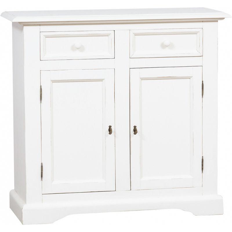 Biscottini - Alcena Country de madera maciza de tilo acabado con efecto blanco envejecido 110x45x103 cm