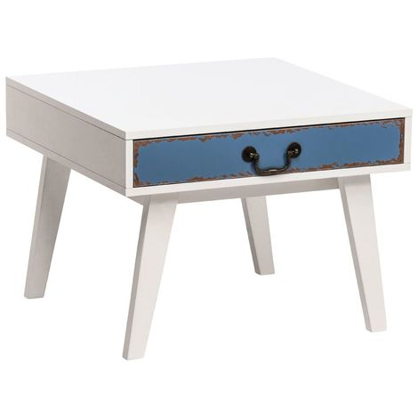 Alchemy Side Table,White Wood/Coloured Drawer