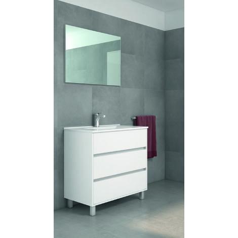 Mueble de baño con Lavabo de Porcelana - con 3 Cajones - El Mueble va MONTADO - Modelo Alcoa (80 cms, Blanco Brillo)