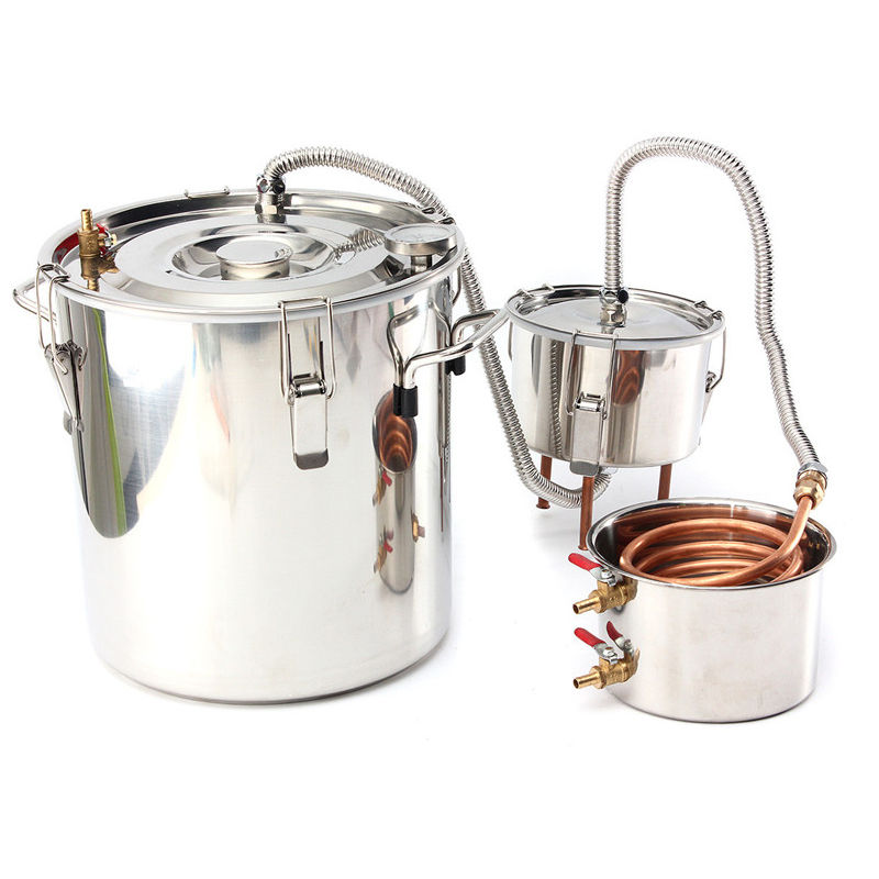 alcohol Moonshine destilador de agua caldera de cobre 8 Galones 35L inoxidable con barril Sasicare - MAEREX