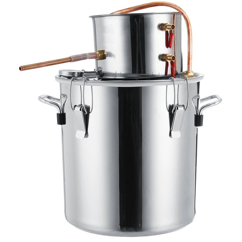 Alcohols Distiller Moonshine Still Stainless Steel Boiler Water Purify Wine Making Brewing Kit 5 Gal 20L