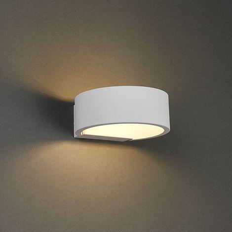 Alcor 1Lt Wall Light 6W Warm White Lighting - Textured Matt White Paint