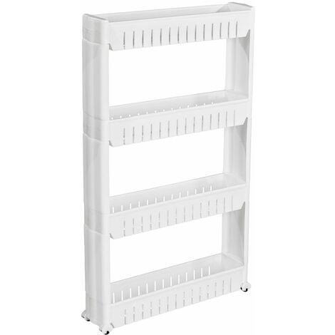 Alcove shelf with 4 levels - long shelf, alcove storage, hidden shelf - white