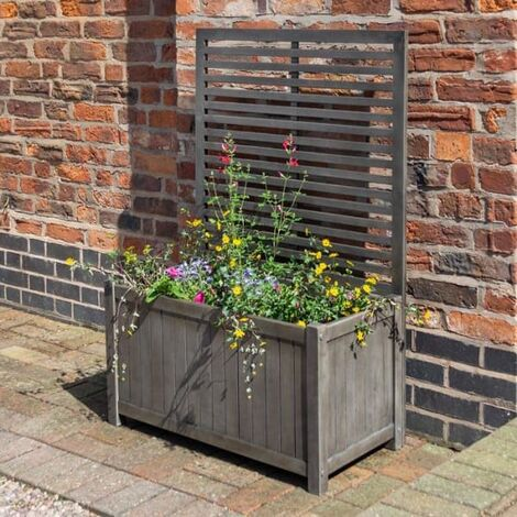 Alderley Rustic Wooden Planter and Trellis Grey