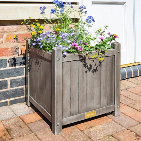 Alderley Rustic Wooden Square Planter Grey