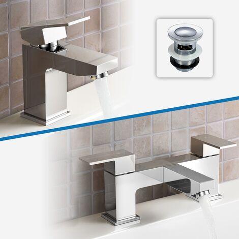 Aldo Bathroom Chrome Solid Brass Basin Mixer Tap & Bath Filler Mixer Tap + Waste