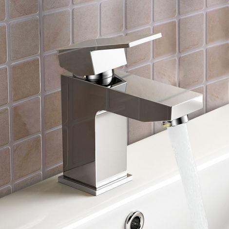 Aldo Modern Bathroom Chrome Deck Mounted Solid Brass Basin Mixer Tap