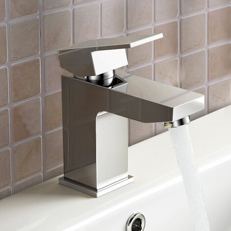 Aldo Modern Bathroom Chrome Deck Mounted Solid Brass Basin Mixer Tap With Basin Waste