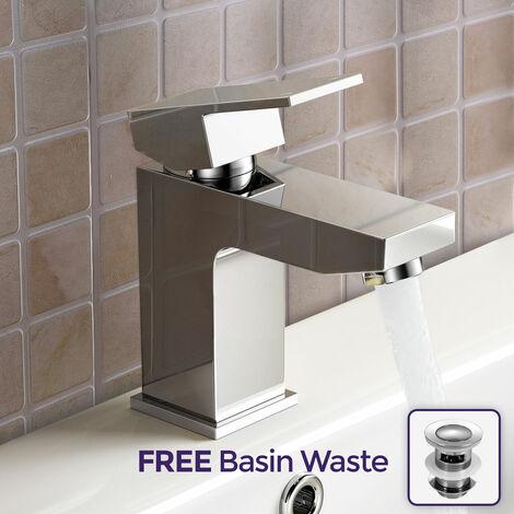 Aldo Modern Bathroom Chrome Solid Brass Basin Mixer Tap & Free Waste