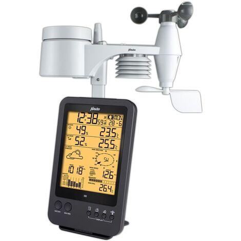 Alecto Wireless Weather Station Time Alarm Clock Temperature Sensor Black/White
