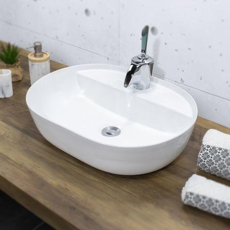 ALENTO Vasque à poser design en céramique 61 x 40,5 cm Blanc - Blanc