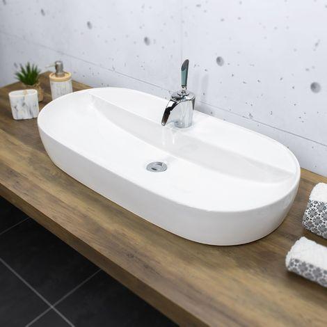 ALENTO Vasque à poser design en céramique 80 x 40 cm Blanc - Blanc