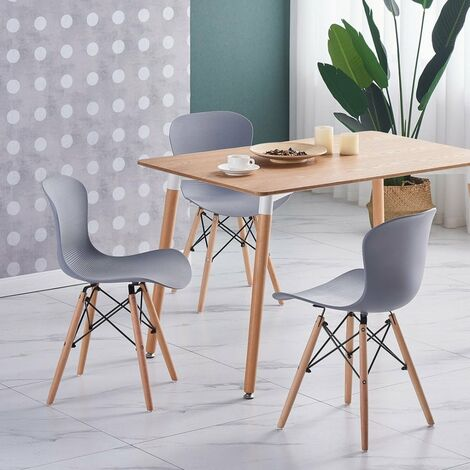 """main image of """"Alessia Halo Dining Table Set with 4 Chairs (OAK & GREY)"""""""